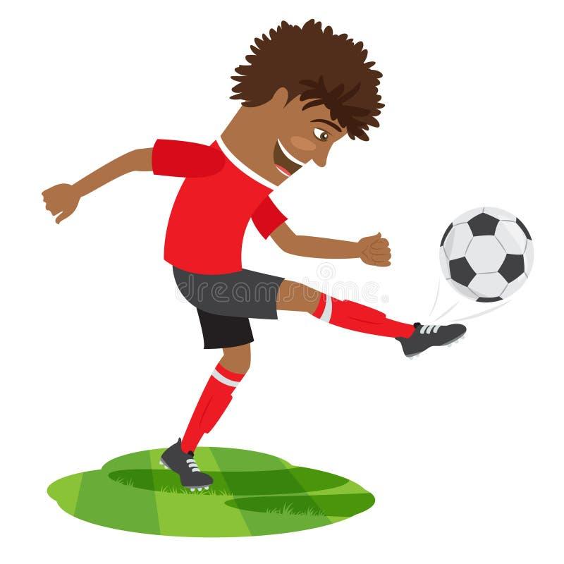 Grappige Afrikaanse Amerikaanse voetbalvoetbalster die rood t dragen -t-shir royalty-vrije illustratie