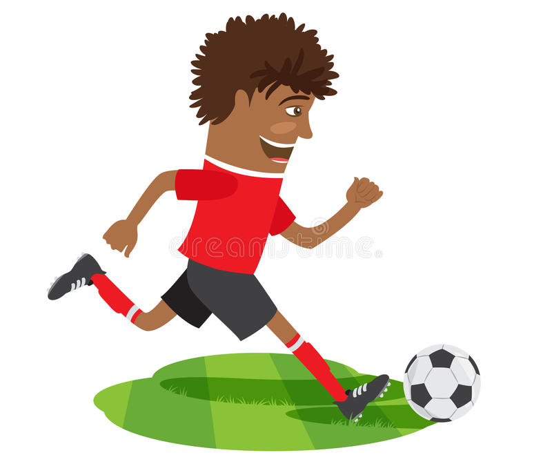 Grappige Afrikaanse Amerikaanse voetbalvoetbalster die rood t dragen -t-shir stock illustratie