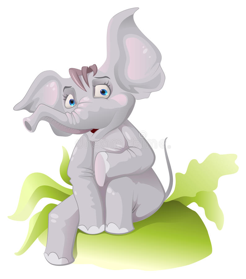 Grappige Afrikaanse olifant met afluisteraar stock illustratie