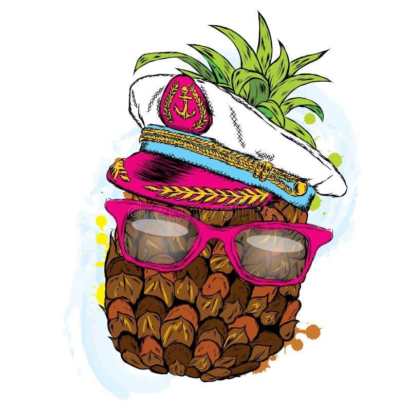 Grappige ananas in een kapitein ` s GLB Vector illustratie royalty-vrije illustratie