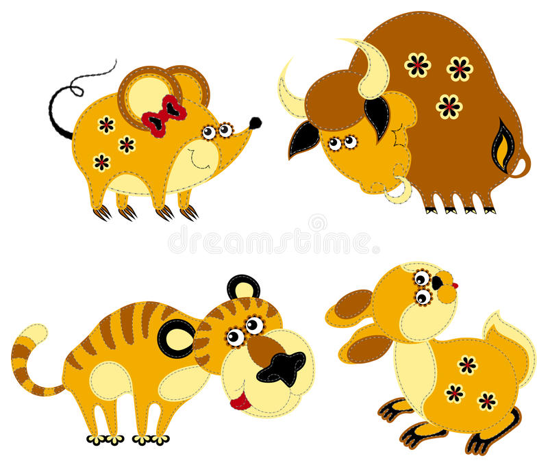 Grappige applique Chinese horoscoop royalty-vrije illustratie