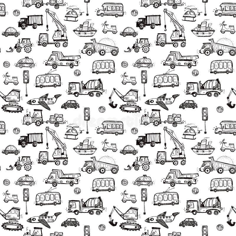 Grappige auto's textuur van het jonge geitjes de naadloze patroon royalty-vrije illustratie
