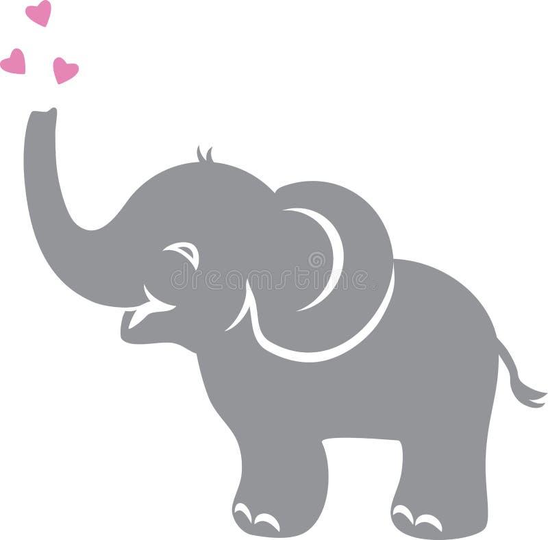 Grappige babyolifant met harten stock illustratie