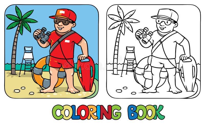 Grappige Badmeester Kleurend boek stock illustratie
