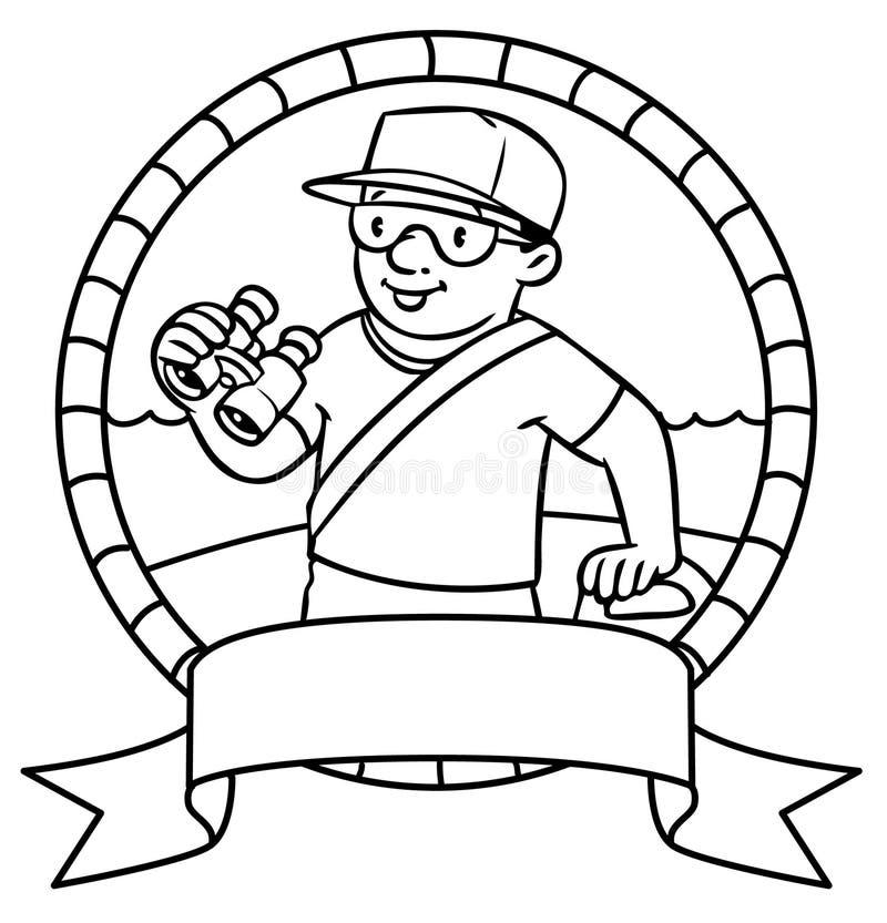 Grappige Badmeester Kleurend boek embleem stock illustratie