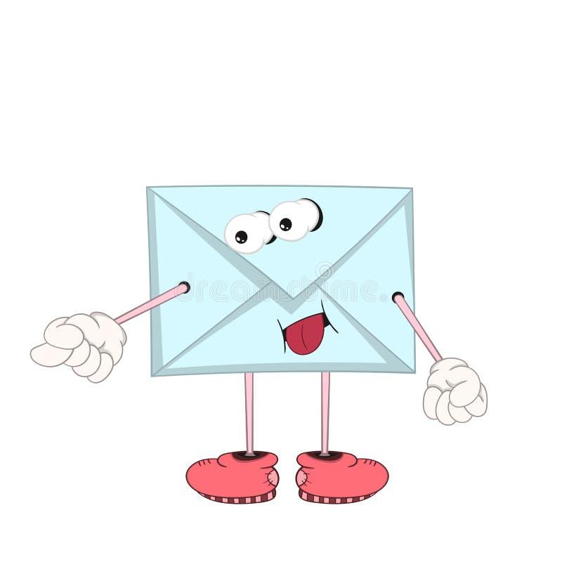 Grappige beeldverhaal blauwe brief met ogen, armen en benen in schoenen die en tong plagen tonen stock illustratie