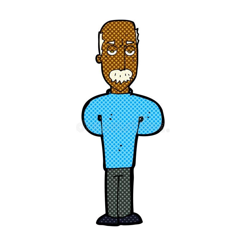 grappige beeldverhaal geërgerde balding mens vector illustratie