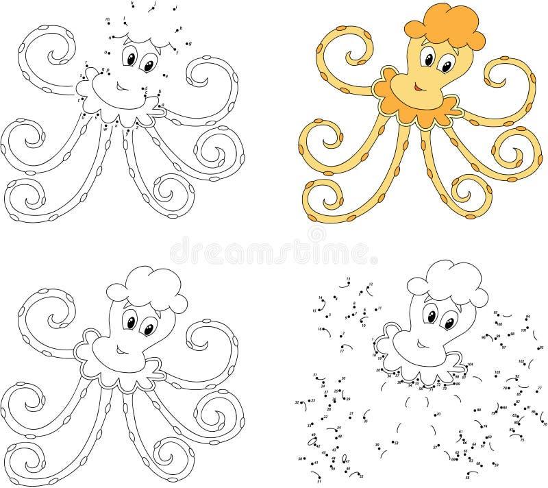 Grappige beeldverhaal gele octopus Kleurende boek en punt om spel te stippelen royalty-vrije illustratie
