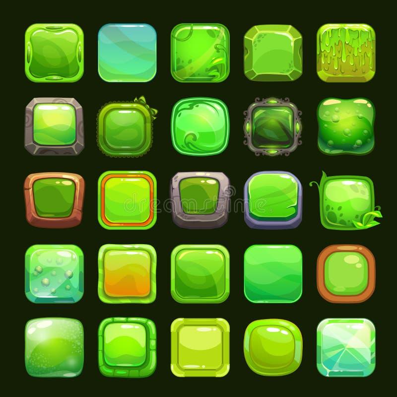 Grappige beeldverhaal groene vierkante knopen stock illustratie