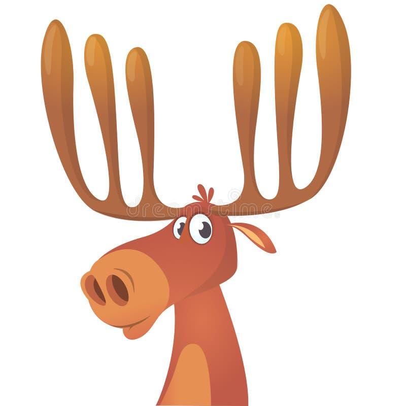 Grappige beeldverhaalamerikaanse elanden De vectorillustratie van het Amerikaanse elandenkarakter royalty-vrije illustratie