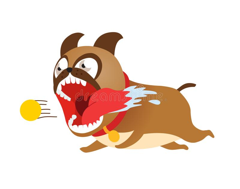 Grappige beeldverhaalhond die na tennisbal loopt Leuke puppy vectorillustratie vector illustratie