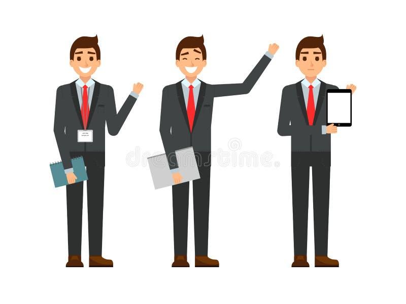 Grappige beeldverhaalkerel in het kostuum, het gesturing Reeks van zakenmankarakters punt en het tonen bij tabletcomputer Gelukki royalty-vrije illustratie
