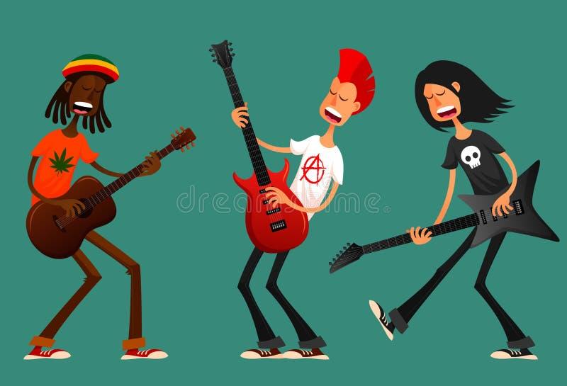 Grappige beeldverhaalkerels die gitaar spelen vector illustratie