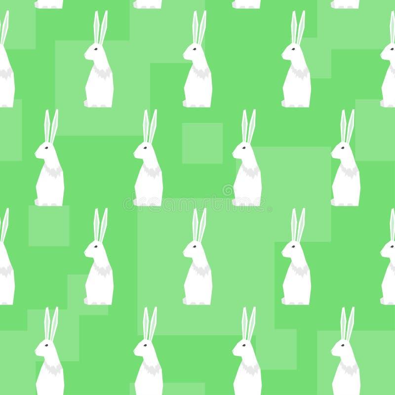 Grappige beeldverhaalkonijnen Abstracte geometrische naadloze patroonachtergrond royalty-vrije illustratie