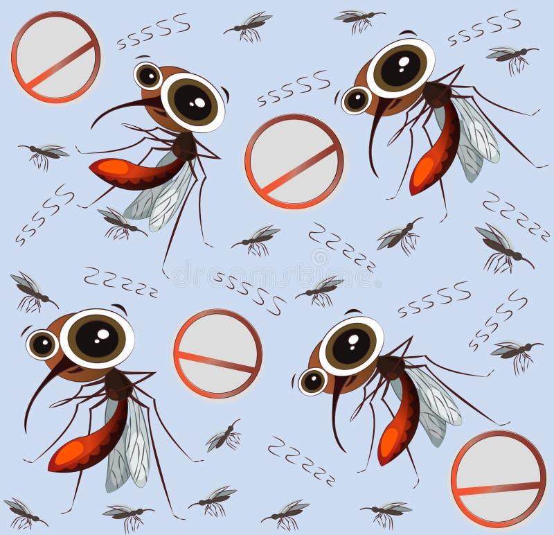 Grappige beeldverhaalmuggen op een blauwe achtergrond Achtergrond en Patroon royalty-vrije illustratie