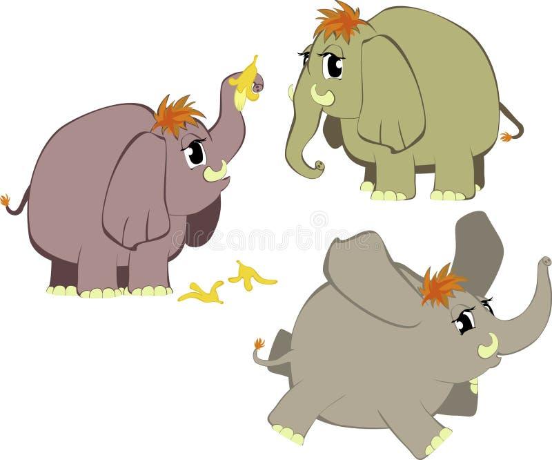 Grappige beeldverhaalolifanten stock illustratie