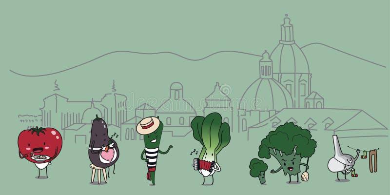 Grappige beeldverhaalset van tekens traditionele Italiaanse groenten met geschetst Florence op achtergrond stock illustratie