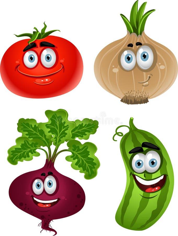 Grappige beeldverhaaltomaat, biet, komkommer, ui vector illustratie