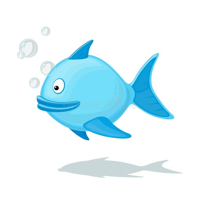 Grappige beeldverhaalvissen met luchtbel royalty-vrije illustratie