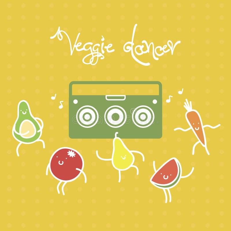 Grappige beeldverhaalvruchten en vagetables het dansen aan de muziek van de boomdoos Vector illustratie stock afbeeldingen