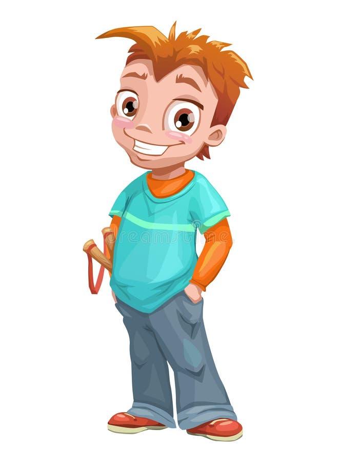 Grappige bevindende rode haired jongen royalty-vrije illustratie