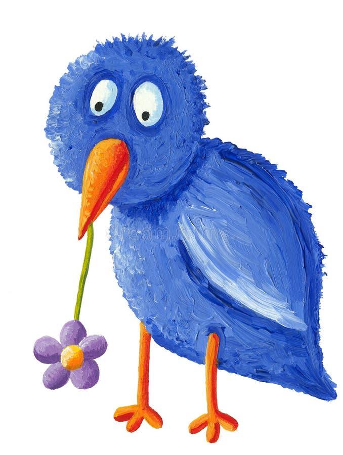 Grappige blauwe vogel met purpere bloem in de bek vector illustratie