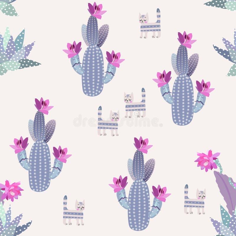 Grappige bloeiende cactussen met beeldverhaalgezichten, succulents en dromerige die katten op lichte achtergrond in vector worden royalty-vrije illustratie