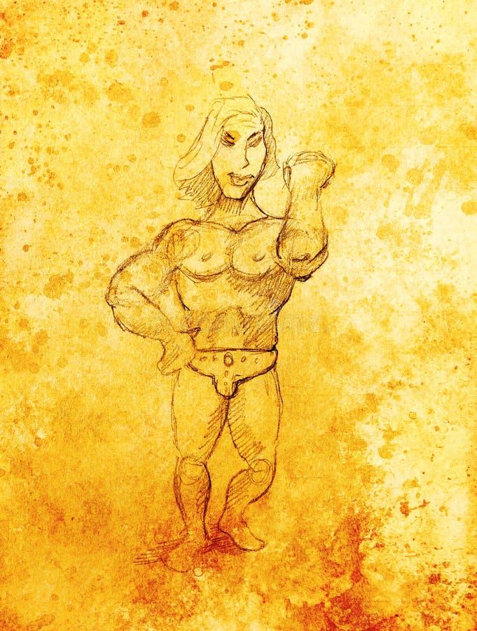 Grappige Bodybuilder, potloodschets op papier, sepia en uitstekend effect royalty-vrije illustratie