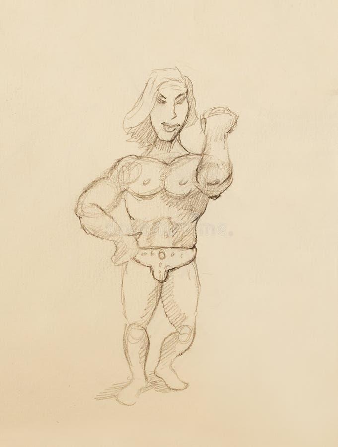 Grappige Bodybuilder, potloodschets op uitstekend document stock illustratie