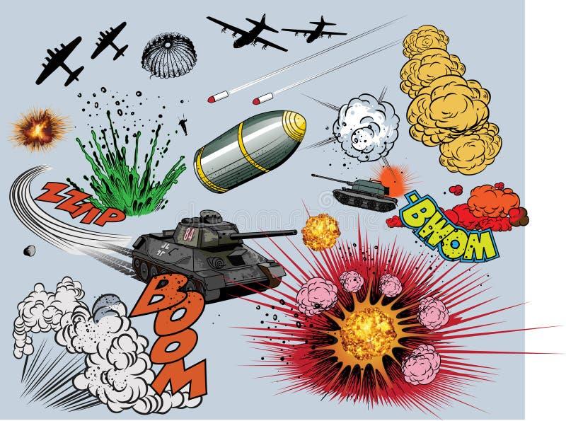 Grappige boekexplosie - oorlogselementen royalty-vrije illustratie