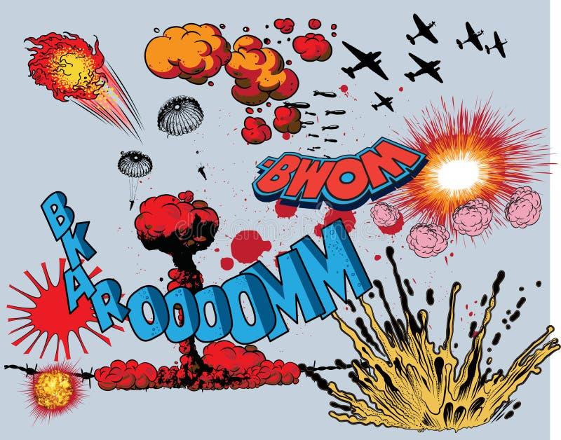 Grappige boekexplosie - oorlogselementen stock illustratie