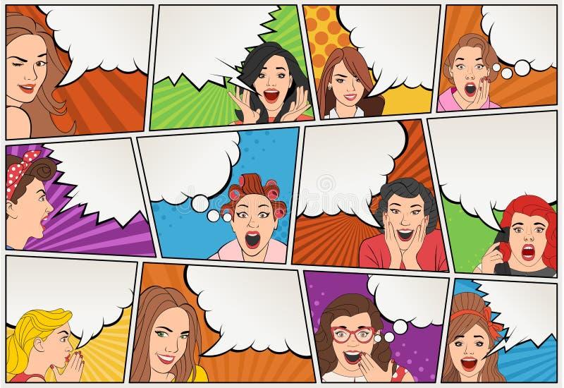 Grappige boekpagina met het retro vrouwen spreken Stripverhaalachtergrond met toespraakbellen stock illustratie