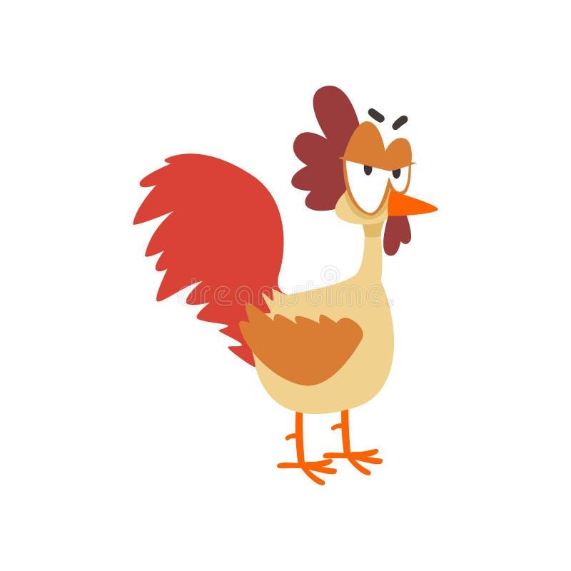 Grappige boze kip, grappig de vogelkarakter van de beeldverhaalkip met grote ogen vectorillustratie op een witte achtergrond royalty-vrije illustratie