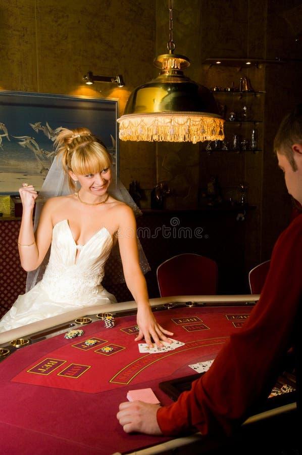 Grappige bruidspeelkaarten stock afbeeldingen
