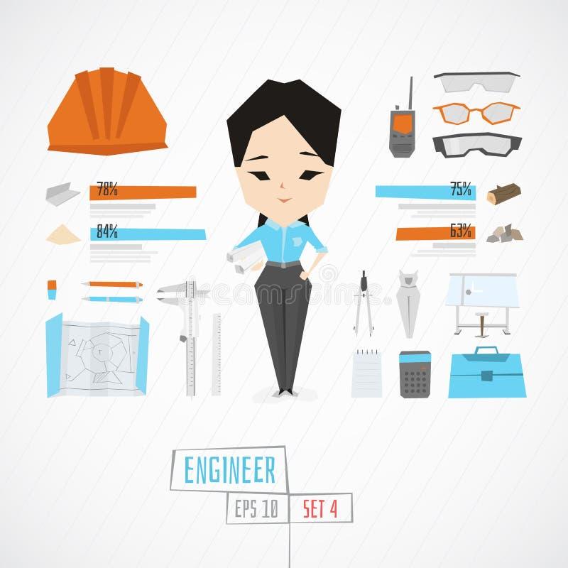 Grappige charatceringenieur vector illustratie