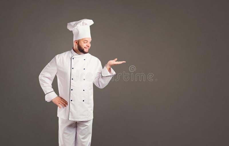 Grappige chef-kok met baardkok stock afbeeldingen