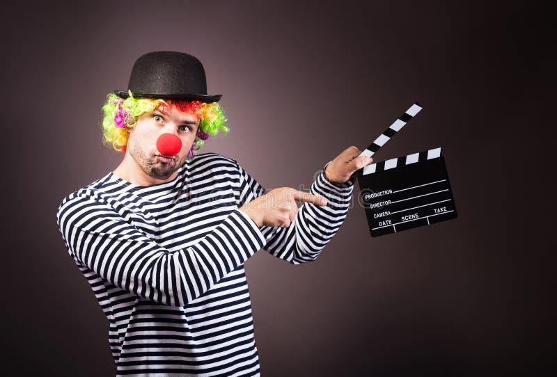 Grappige clown met clipper doos royalty-vrije stock foto
