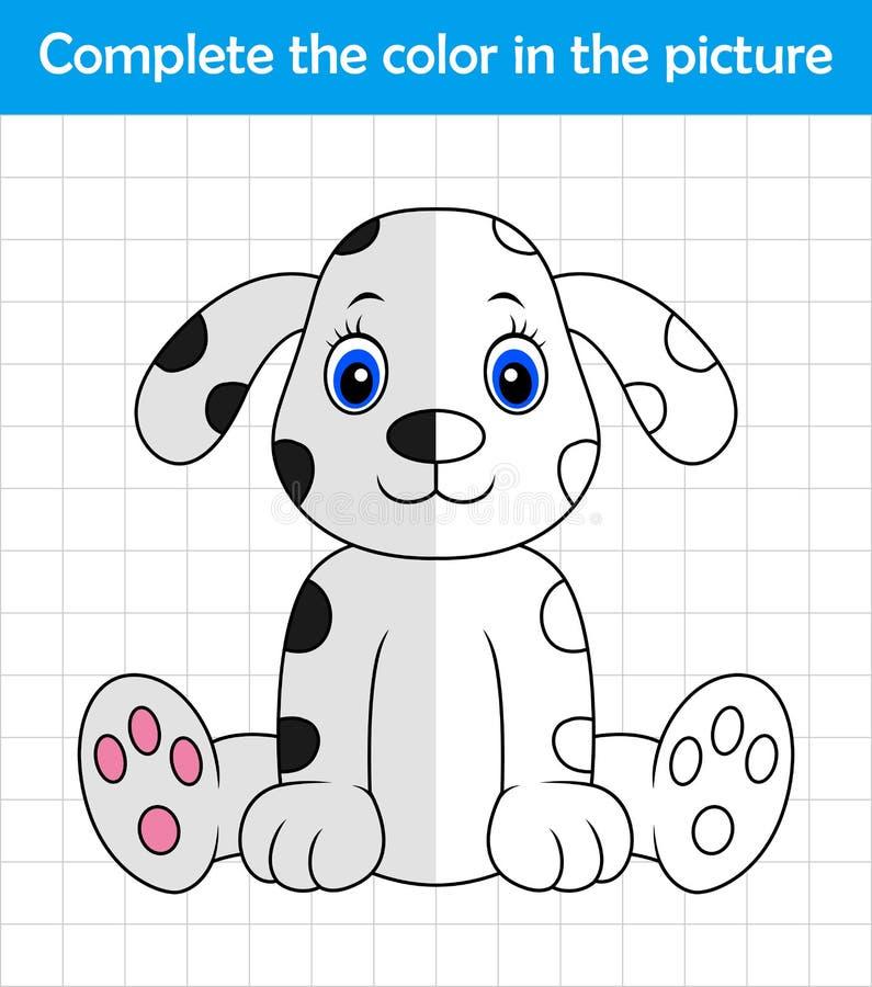 Grappige Dalmatische hond Voltooi de beeldkinderen die spel trekken vector illustratie