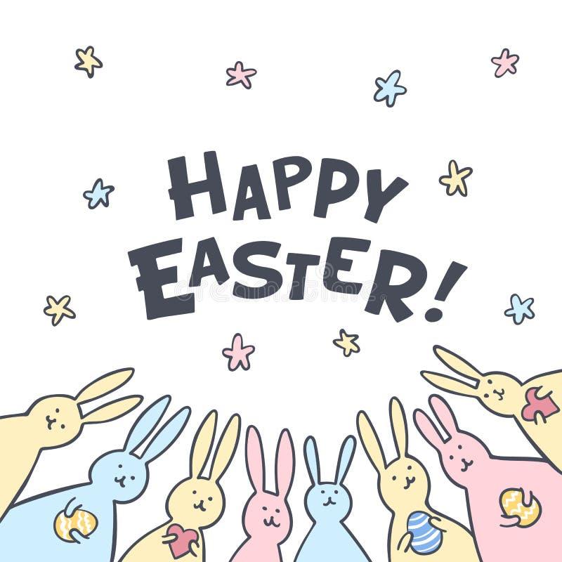 Grappige de Groetkaart van konijntjespasen met witte Pasen-konijnen Illustratie van leuke konijntjes met paaseieren en harten en stock illustratie