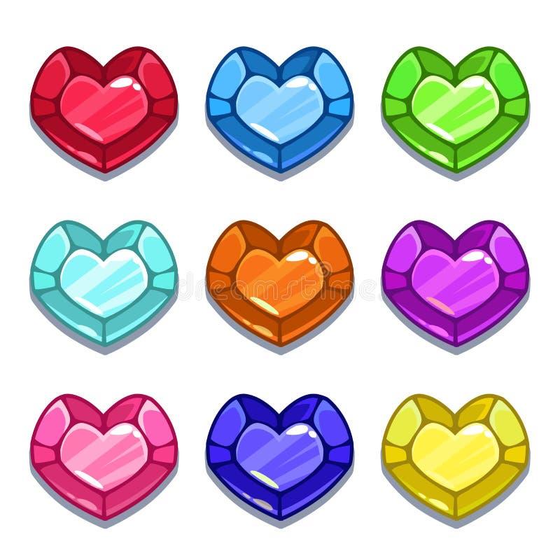 Grappige de vormgemmen van het beeldverhaal kleurrijke hart stock illustratie