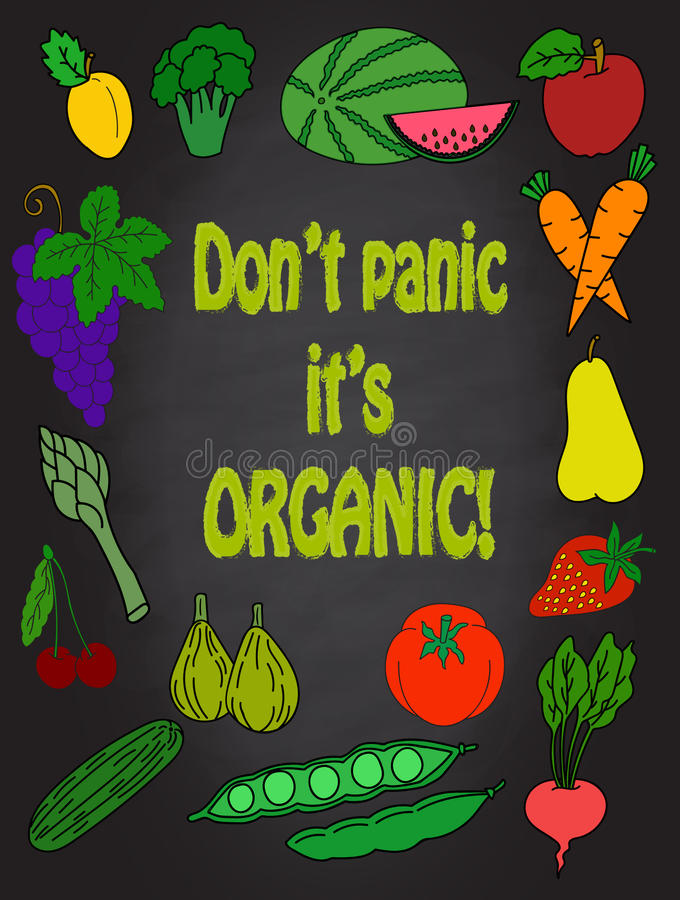 Grappige de vruchten en de groenten vectorhand getrokken van de het decor Creatieve affiche van de voedselmuur van de keukenkunst vector illustratie