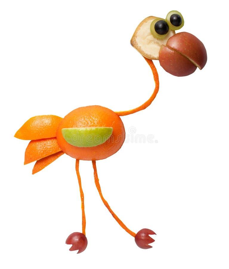 Grappige die flamingo van sinaasappel wordt gemaakt royalty-vrije stock foto's