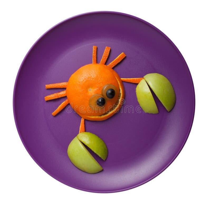 Grappige die krab van sinaasappel wordt gemaakt royalty-vrije stock afbeelding