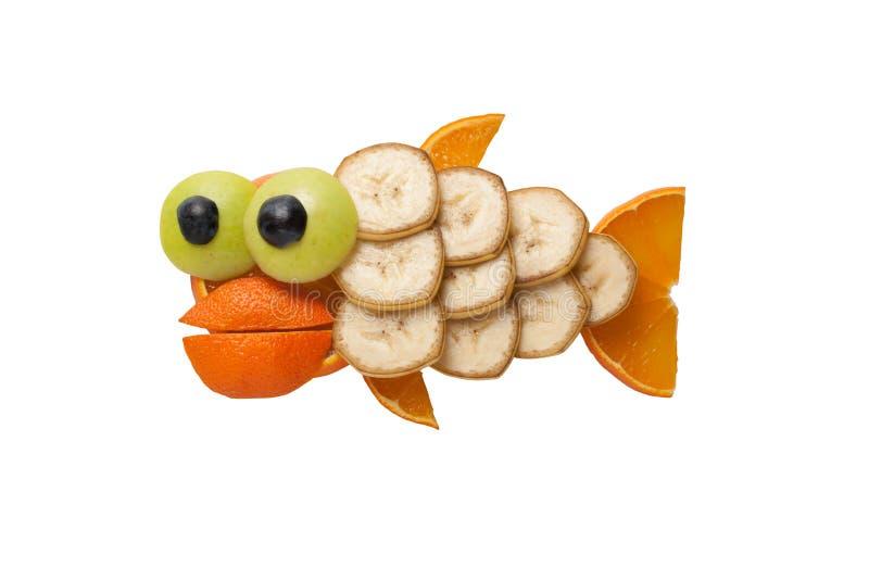 Grappige die vissen van vruchten worden gemaakt royalty-vrije stock afbeelding