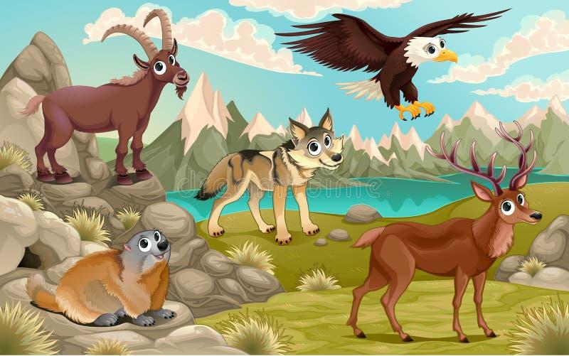 Grappige dieren in een berglandschap royalty-vrije illustratie
