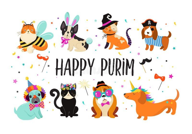 Grappige dieren, huisdieren Leuke honden en katten met kleurrijke Carnaval-kostuums, vectorillustratie Gelukkige Purim-Banner stock illustratie