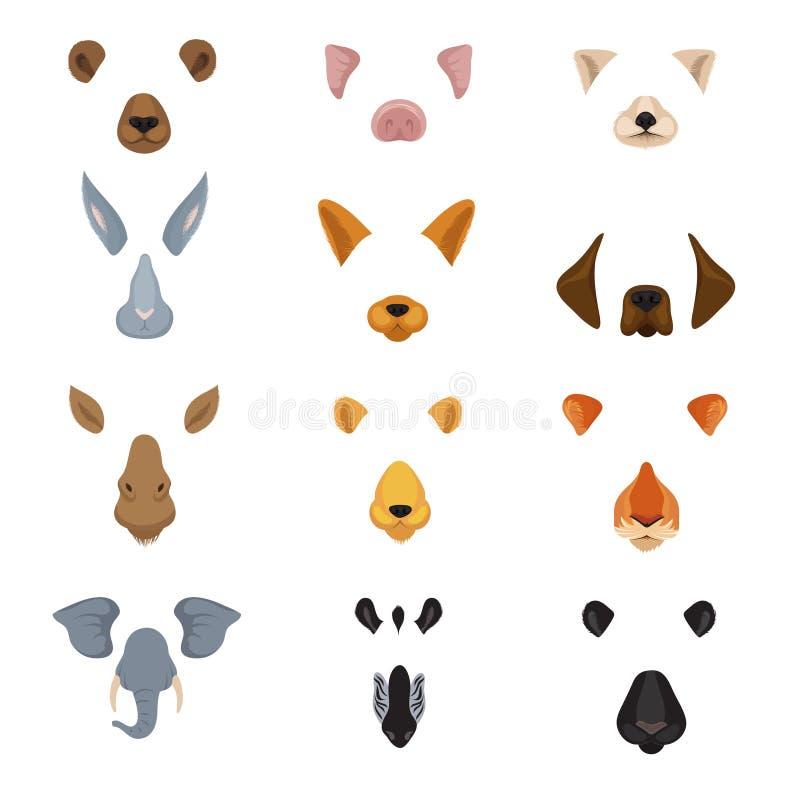 Grappige dierlijke gezichten voor telefoon videografiek app De oren en de neuzen vectorreeks van beeldverhaaldieren stock illustratie