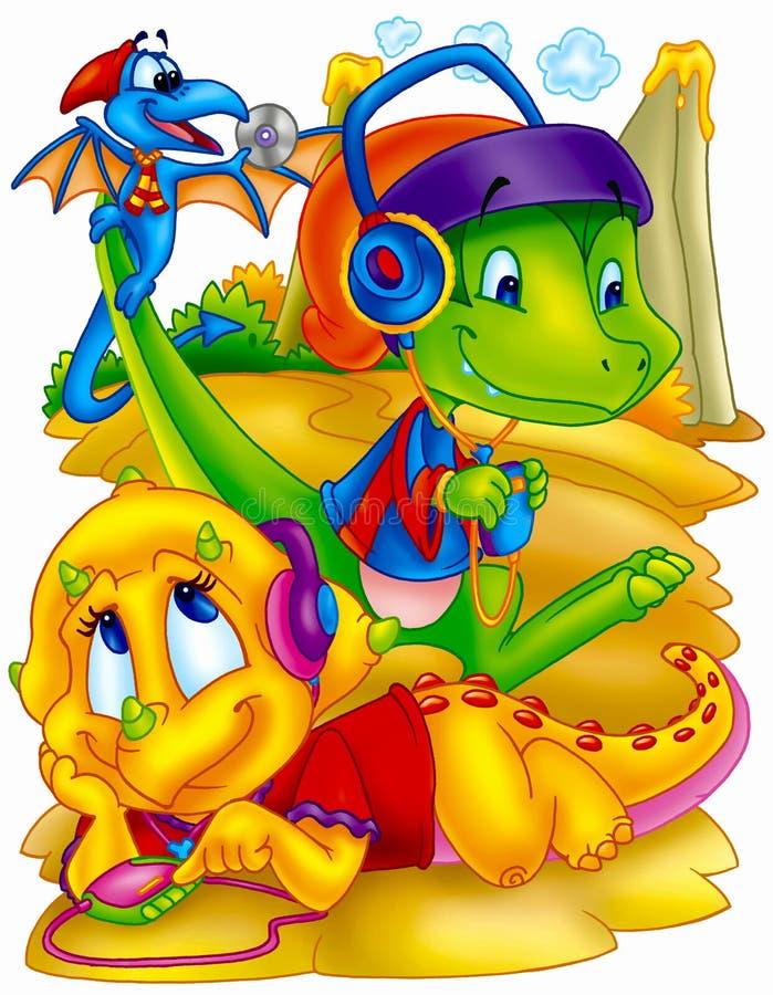 Grappige Dinosaurussen stock afbeeldingen