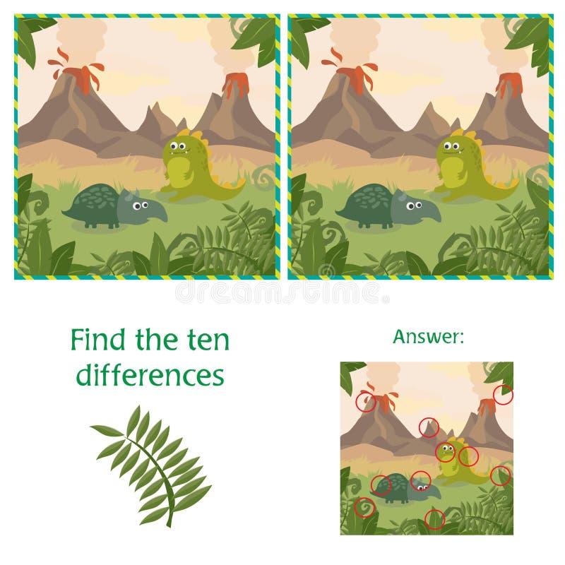 Grappige Dinosaurussen Vind 10 verschillen Onderwijsspel - Beeldverhaalillustratie stock illustratie