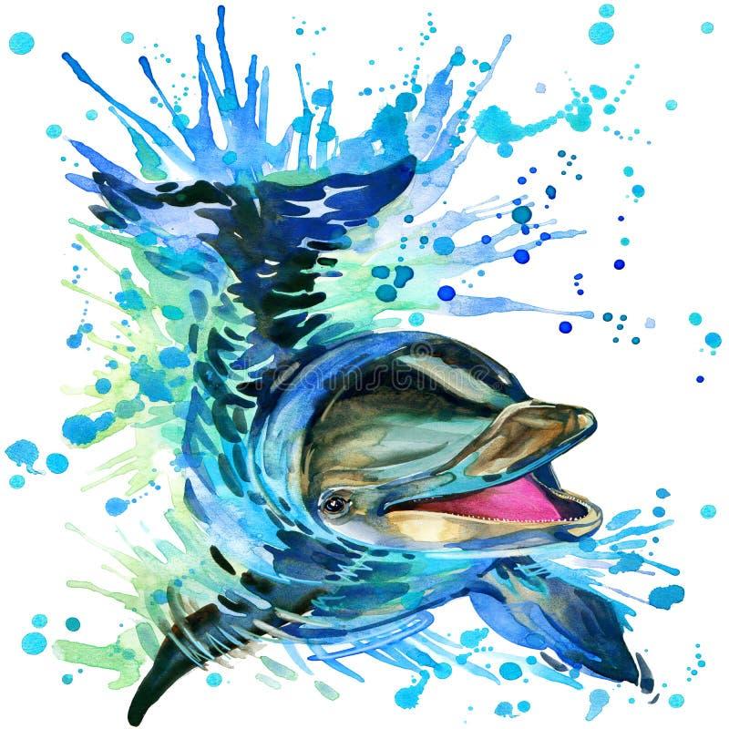 Grappige dolfijn met geweven waterverfplons royalty-vrije illustratie